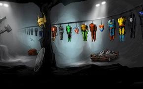Picture batman, Disney, Wonder Woman, Wolverine, Punisher, Batmobile, Marvel, Green Lantern, Superman, Thor, shield, revolver, cave, …