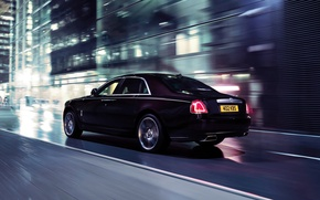 Picture Auto, Lights, Night, The city, Machine, Car, In Motion, Class, Rolls Royce Ghost V-Specification