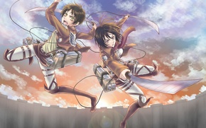 Picture look, girl, flight, sunset, wall, anger, indifference, soldiers, guy, swords, art, shingeki no kyojin, mikasa …