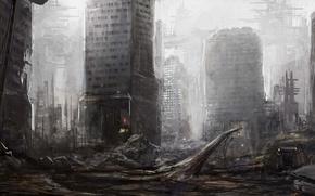 Picture machine, the city, fiction, the skeleton, art, ruins, postapokalipsis
