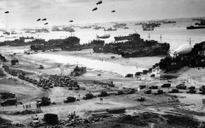 Wallpaper black and white, war, the second world, Landing in Normandy