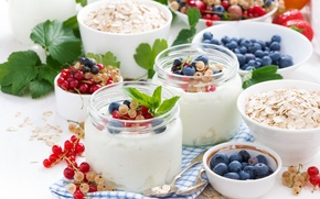 Picture Breakfast, milk, blueberries, strawberry, fruit, currants, fruit, breakfast, milk, yogurt, blueberries, strawberries, currants, granola, yogurt, …