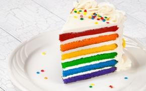 Wallpaper rainbow, colorful, cake, rainbow, cake, Happy, Birthday, Birthday