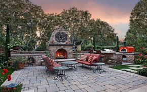 Picture trees, flowers, fire, lawn, the evening, pillow, garden, chairs, fireplace, tables