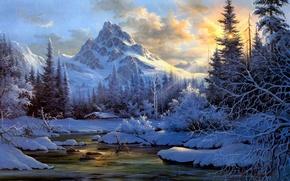 Wallpaper tree, snow, nature, winter, taiga, smoke, hut, river
