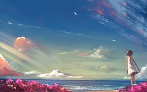 Picture beach, summer, clouds, flowers, the wind, kite, girl