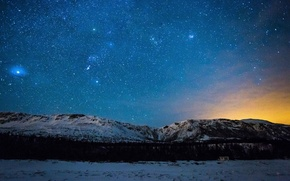 Picture winter, space, stars, light, snow, trees, mountains, house, The Milky Way, secrets