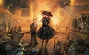Picture girl, sunset, hat, art, cube, kratos, characters, minecraft, ezio auditore da firenze, steve, wario, master …