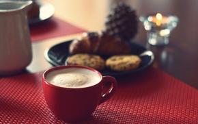 Picture breakfast, cappuccino, cookies, cornetto