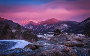 Picture winter, snow, sunset, mountains, tops, haze