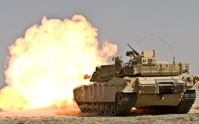 Picture the explosion, tank, M1A1 Abrams