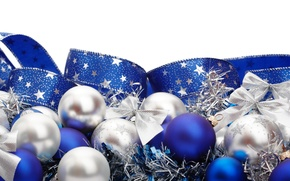 Picture white, blue, background, holiday, balls, new year, tape, tinsel, bow, happy new year, Christmas toys