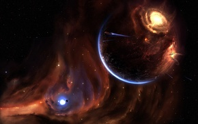 Wallpaper planet, 157, stars, the explosion