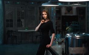 Picture girl, house, portrait, dress, light, brown hair, black, beauty, lamps, Diana, beutiful, Max Kuzin