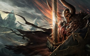 Picture Chaos, Warrior, horns, cloak, blade, Fantasy Battle, Warhammer FB, Chaos Knight