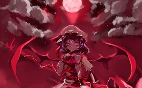 Picture girl, the moon, wings, vampire, red eyes, touhou, remilia scarlet, vampire, Touhou