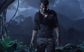 Picture The sky, Water, Clouds, Trees, Watch, Light, Blood, Weapons, Jungle, Wounds, Nathan Drake, Uncharted 4: …