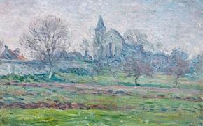 Picture trees, picture, spring, garden, Church, LANDSCAPE, Henri Lebacq