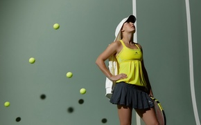 Wallpaper balls, tennis player, racket, Caroline Wozniacki