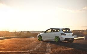 Picture dawn, tuning, white, Speed, Mazda 3, tuning, Mazda