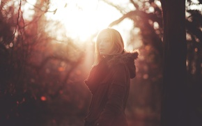 Picture girl, light, sunset