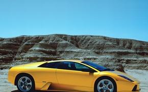 Picture mountains, supercar, lamborghini, side view, murcielago, Lamborghini
