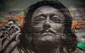 Picture wall, picture, grafiti, Salvador Dali
