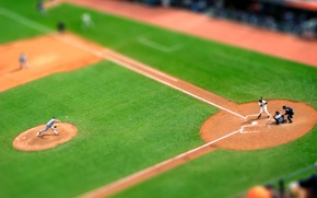 Picture lawn, the game, baseball, tilt shift, players, submission