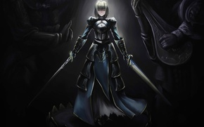 Picture girl, smile, weapons, mood, armor, swords, statues, saber, art, fate/stay night, shuyinnosi