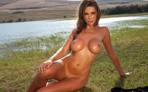Wallpaper chest, look, pose, lake, model, naked, figure, brunette, sitting, resting, on the grass, nature, sexy, ...