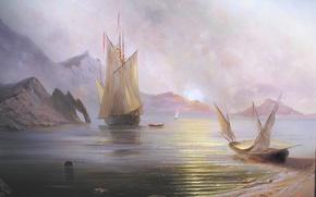 Picture sea, the sun, landscape, mountains, dawn, ship, beauty, boats, sail, Crimea, Miliukov Alexander, Dawn of …