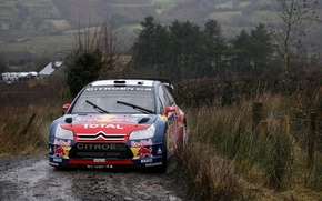 Picture Turn, Dirt, Citroen, Red Bull, DS3, WRC, Rally, The front, Overcast