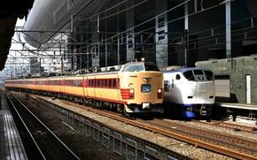 Picture rails, train, station, Japan, train