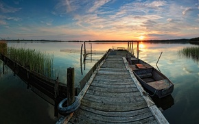 Picture lake, boat, reflection, pier, sunset