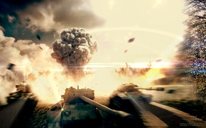 Picture the explosion, clouds, fire, smoke, art, tank, USA, USSR, America, tanks, WoT, World of Tanks, …