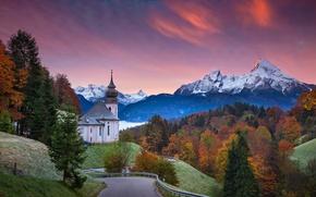 Picture road, autumn, trees, sunset, Germany, Bayern, Church, Germany, Bavaria, Bavarian Alps, The Bavarian Alps, Berchtesgaden, …