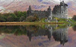 Picture trees, mountains, lake, reflection, castle, the ruins