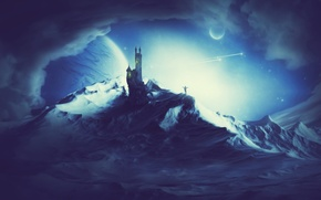 Picture mountains, night, castle, planet, child