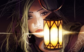 Picture girl, close-up, web, lamp, digital painting