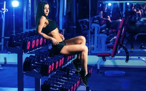 Picture pose, fitness model, dumbbells, sportswear, photography section