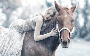 Picture girl, snow, horse, sleep, Alessandro Di Cicco, Queen Maud