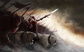 Picture girl, cats, predators, sword, army, art, spikes, monsters, collar, armor, shield, wild, spears, banners