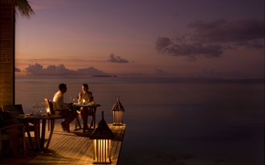 Wallpaper the ocean, romance, the evening, two, dinner, couple dining