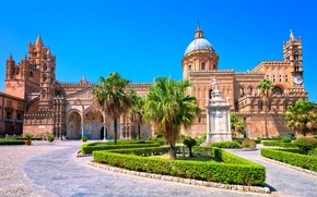 Picture the sky, the sun, design, palm trees, Italy, Cathedral, architecture, the bushes, Palace, Sicily, Palermo, …