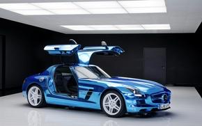 Picture car, blue, door, Mercedes, Mercedes, Benz, cars, AMG, SLS, blue, electric, drive, salon.