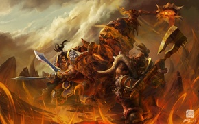 Wallpaper weapons, rocks, fire, monster, warrior, art, lava, World of Warcraft, battle, Orc, wow