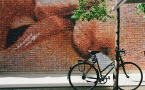 Wallpaper art, street art, bicycle, bike, street, kiss