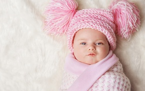 Picture hat, child, baby, blanket, Winter, baby, child, baby, Infants