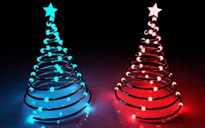 Picture stars, light, blue, red, lights, holiday, tree, new year, new year, Christmas trees, merry christmas, …