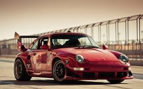 Wallpaper red, porsche, Porsche, track, gemballa, 993, gt600